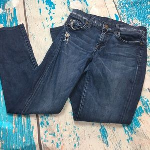 7 for all mankind distressed Roxanne skinny jeans